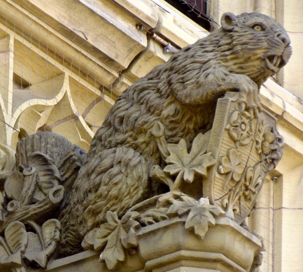 Beaver Sculpture over entrance to Canadian Parliament Building, Ottawa, Ontario (D.GordonE.Robertson)
