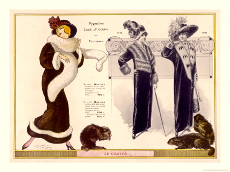 Full Length Coats Trimmed in Beaver, Otter, Opossum & Ermine & a Fur Boa (Jacques Nam-1912)