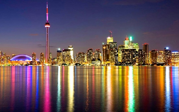 A Night View of Toronto Skyline across Lake Ontario