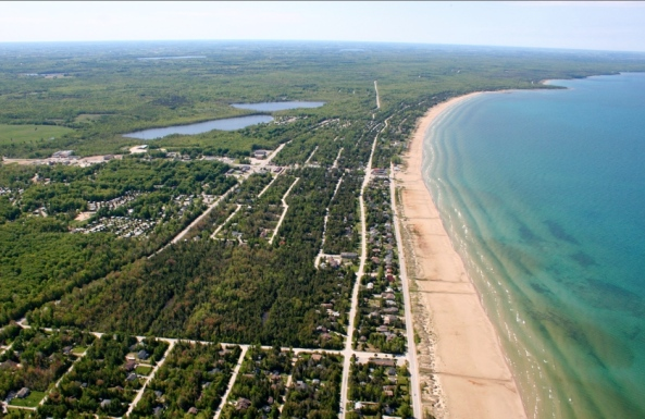 Bird's Eye View of Sable Beach and Carson Lake